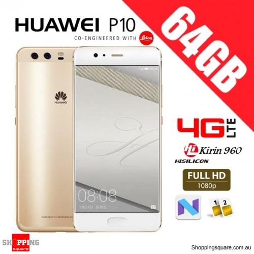 Huawei P10 64GB VTR-L29 Dual Sim 4G LTE Unlocked Smart Phone Dazzling Gold