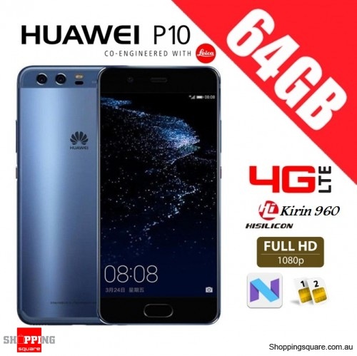 Huawei P10 64GB VTR-L29 Dual Sim 4G LTE Unlocked Smart Phone Dazzling Blue