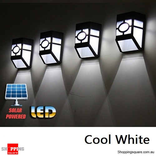 Solar Powered Wall Mount LED Light Lamp for Outdoor Home Garden Landscape Fence Yard  Cool White Colour