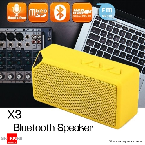 X3 Hands-Free Wireless Bluetooth Mini Bass Speaker Supported FM TF USB Flash Drive Mic Yellow Colour