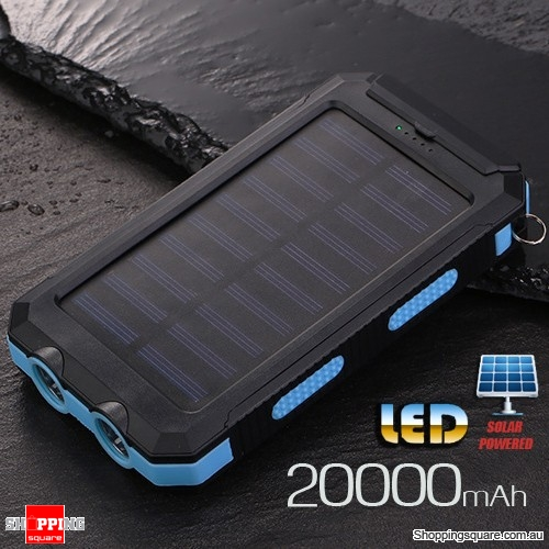 20000mAh Solar Power Bank External Charger Battery with Compass Dual USB LED Torch Blue Colour