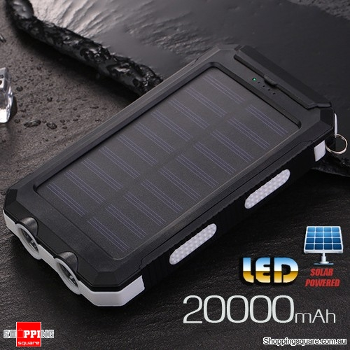 20000mAh Solar Power Bank External Charger Battery with Compass Dual USB LED Torch White Colour