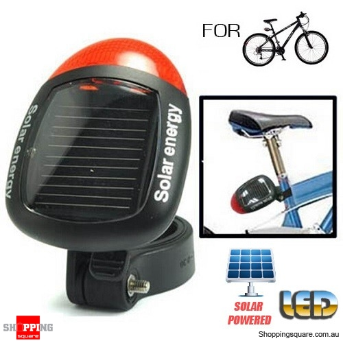 Solar Powered 2 LED Bike Bicycle Rear Tail Red Light Lamp with 3 Modes