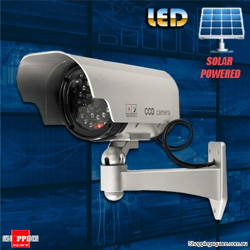 Solar Powered Fake Dummy CCTV Security Surveillance Camera IR LED Bullet Blinking for Outdoor