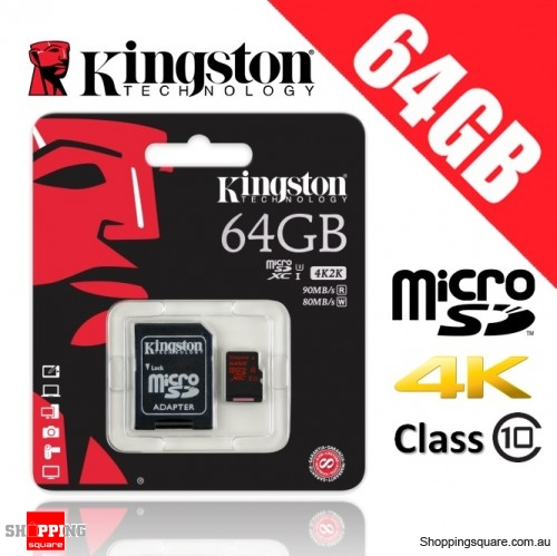 Kingston 64GB microSD SDXC Memory Card UHS-I U3 Up to 90MB/s Read and 80MB/s Write + Adapter