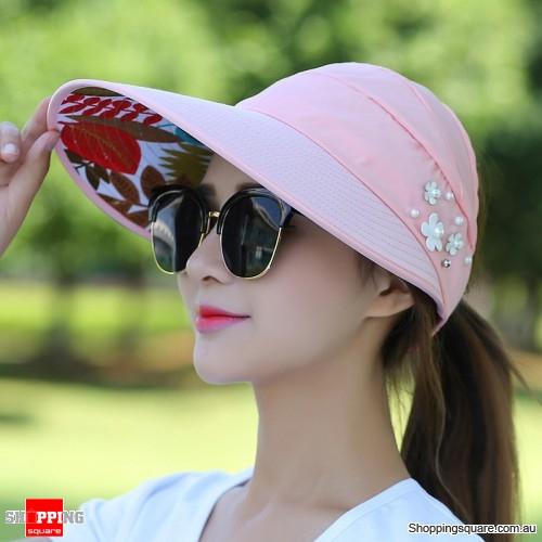 Women s Ladies  Summer Outdoor Anti-UV Beach Sunscreen Sun Hat Cap Pink  Colour ef58b358587d