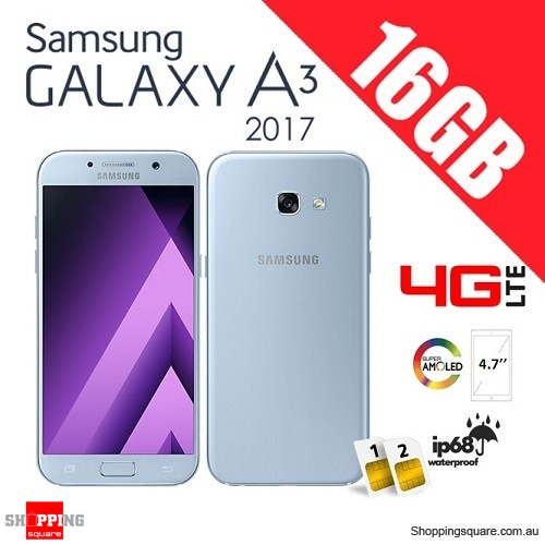 Samsung Galaxy A3 16GB (2017) A320FD Dual Sim 4G LTE Unlocked Smart Phone Blue Mist