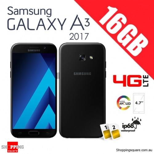 Samsung Galaxy A3 16GB (2017) A320FD Dual Sim 4G LTE Unlocked Smart Phone Black Sky
