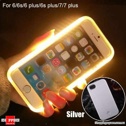 Luminous LED Light Up Flash Selfie Case for Apple iPhone 7 plus Silver Colour