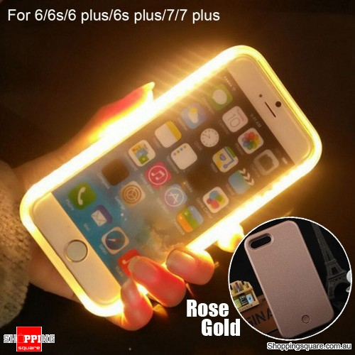 Luminous LED Light Up Flash Selfie Case for Apple iPhone 6 Plus/ 6S Plus Rose Gold Colour