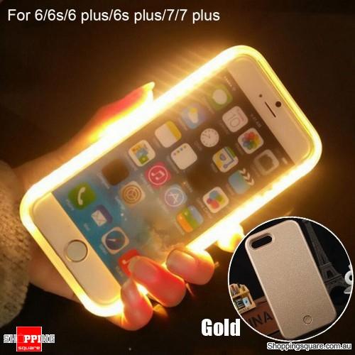 Luminous LED Light Up Flash Selfie Case for Apple iPhone 7 Gold Colour