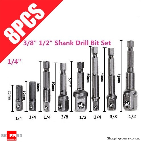 "8pcs Set of Socket Adapter for Hex Shank Drill Bits 1/4"" 3/8"" 1/2"" Impact Driver Tool"