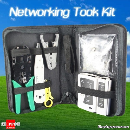 CAT6 Network Cable Tool Kit with Tester Crimper Stripper Cutter for 8P8C RJ45 Fittings