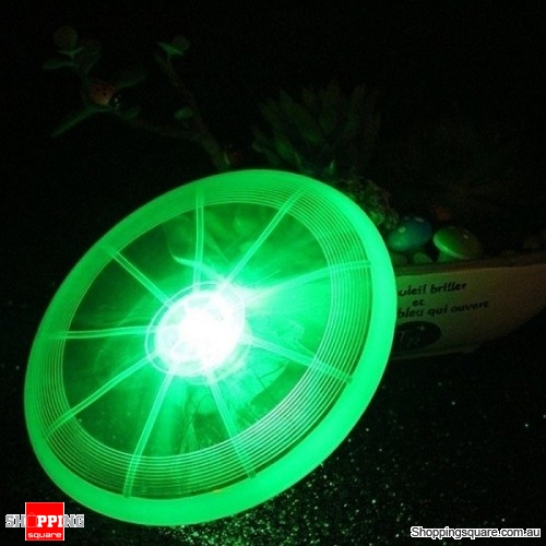 Frisbee Flying Disc Toy with LED Lights Flashflight for Dog Pet Green Colour