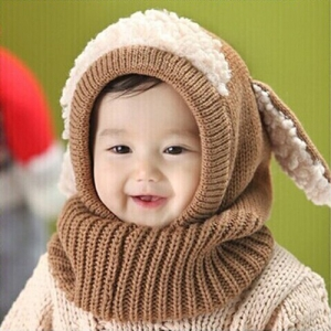 Children Baby Sheep Ear Style Hooded Wool Cap Scarf Hat Earflap Khaki Colour