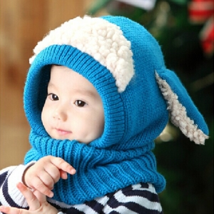 Children Baby Sheep Ear Style Hooded Wool Cap Scarf Hat Earflap Blue Colour