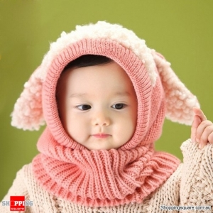 Children Baby Sheep Ear Style Hooded Wool Cap Scarf Hat Earflap Pink Colour