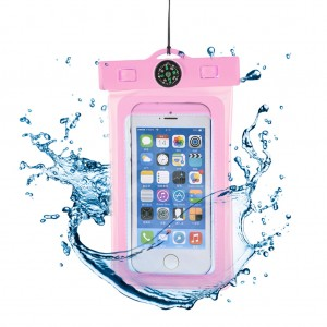 """Waterproof Phone Case Dry Bag for 4.7""""Mobile Phone with Compass Pink"""