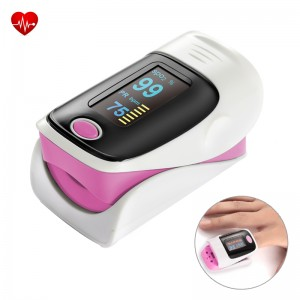 Finger Pulse Oximeter SPO2 Blood Oxygen Monitor with OLED Screen - Pink