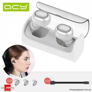 QCY Q29 Twin Mini Bluetooth 4.1 Wireless Stereo Headset Earphones with Charging Box White Colour