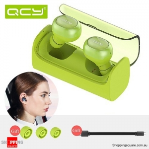 QCY Q29 Twin Mini Bluetooth 4.1 Wireless Stereo Headset Earphones with Charging Box Green Colour