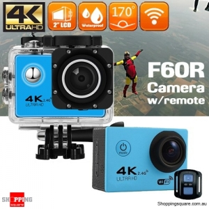 F60R 4K Ultra HD WIFI Remote Controlled Mini Sports Action Camera DV Waterproof Blue Colour