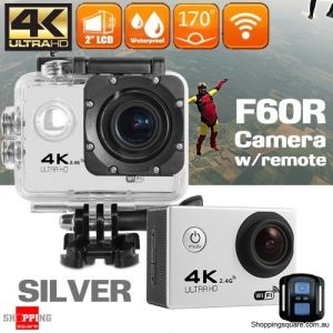 F60R 4K Ultra HD WIFI Remote Controlled Mini Sports Action Camera DV Waterproof Silver Colour