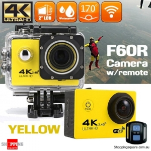 F60R 4K Ultra HD WIFI Remote Controlled Mini Sports Action Camera DV Waterproof Yellow Colour