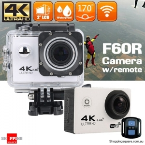 F60R 4K Ultra HD WIFI Remote Controlled Mini Sports Action Camera DV Waterproof White Colour