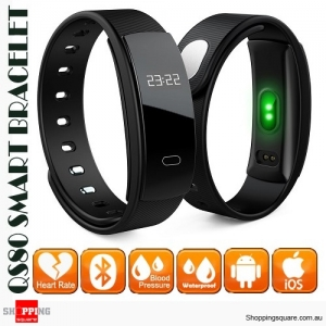 QS80 Smart Bracelet Band IP67 Waterproof with Blood Pressure Heart Rate Monitor for Sports Sleep Health Black Colour