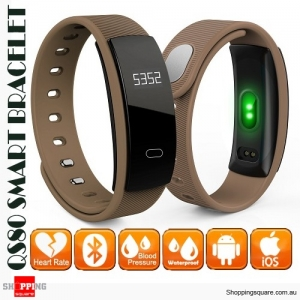 QS80 Smart Bracelet Band IP67 Waterproof with Blood Pressure Heart Rate Monitor for Sports Sleep Health Brown Colour