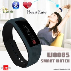 W808S Bluetooth Waterproof Smart Sport Wristband Bracelet Watch Heart Rate Monitor Black Colour