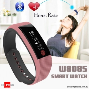 W808S Bluetooth Waterproof Smart Sport Wristband Bracelet Watch Heart Rate Monitor Pink Colour