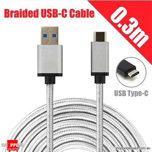 0.3M Braided USB 3.1 Type C USB-C to Male Data Cable for Samsung LG Google Android