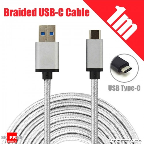 1M Braided USB 3.1 Type C USB-C to Male Data Cable for Samsung LG Google Android