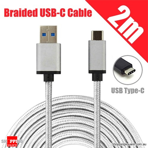 2M Braided USB 3.1 Type C USB-C to Male Data Cable for Samsung LG Google Android
