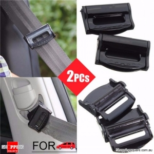 2Pcs of Car Safety Seat Belt Strap Clip Clasp Adjuster Modifier for Adult Kids Black Coloured