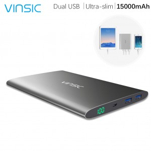 VINSIC Ultra-slim Dual USB Power Bank 15000mAh with LED Touch Screen