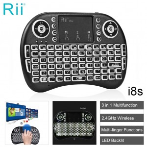Rii i8s 2.4GHz LED Backlit Wireless Keyboard Mouse Touchpad for Android TV Box