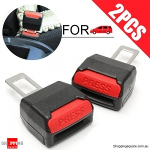 2Pcs of Car Seat Belt Alarm Stopper Eliminator Buckle Clips Extender for Safety Black Colour