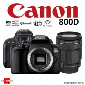 Canon EOS 800D Kit 18-135mm IS STM Lens DSLR 24.2MP HDR WiFi Bluetooth NFC Digital Camera Black