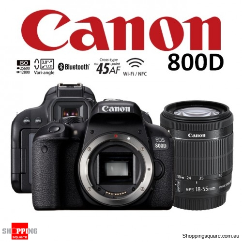 Canon EOS 800D Kit 18-55mm IS STM Lens DSLR 24.2MP HDR WiFi Bluetooth NFC Digital Camera Black