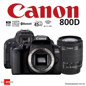 Canon EOS 800D Kit 18-55mm IS STM Lens DSLR 24.2MP HDR WiFi Bluetooth NFC Digital Camera Black