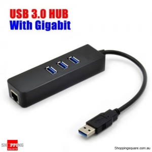 3 Port USB 3.0 HUB with RJ45 Gigabit Ethernet Adapter up to 1000Mbps for PC MAC Laptop