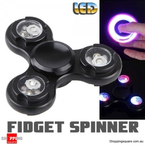 LED Light Fidget Hand Finger Spinner for Focus Reduce Stress Gadget Toy ADHD Black Colour