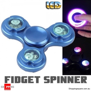 LED Light Fidget Hand Finger Spinner for Focus Reduce Stress Gadget Toy ADHD Blue Colour