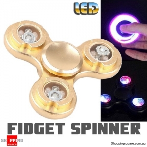 LED Light Fidget Hand Finger Spinner for Focus Reduce Stress Gadget Toy ADHD Gold Colour