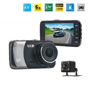 "4"" 1080P Full HD Dual Lens Wide Angle Car Dash DVR Camera Recorder"