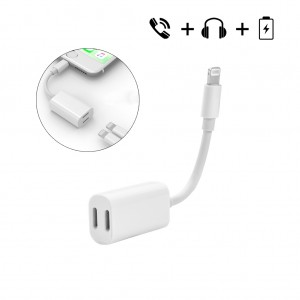 2 in 1 Double Lightning Audio & Charging & Data Sync Adapter Cable for iPhone7 7 plus 6S