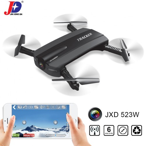 JXD 523W Foldable WiFi FPV Selfie Drone Quadcopter with Camera Altitude Hold Black Colour